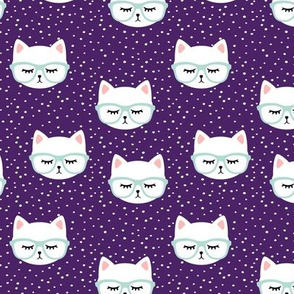 cats with glasses - purple and mint