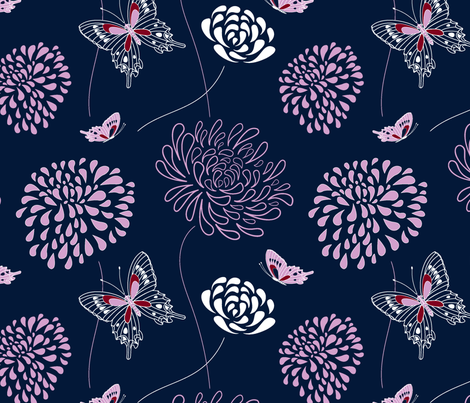 flowers and butterflies fabric by vivdesign on Spoonflower - custom fabric