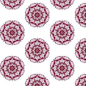 Bonny Diamond Stars of Burgundy and Light Orchid on White - Small Scale
