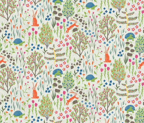 Spring  Garden - Tortoise and Hare fabric by scarlette_soleil on Spoonflower - custom fabric