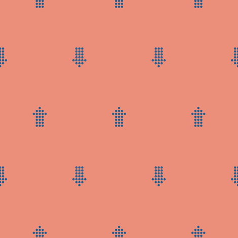 Comfy Dotted Arrows Coral Blue fabric by lisanorrisartworks on Spoonflower - custom fabric