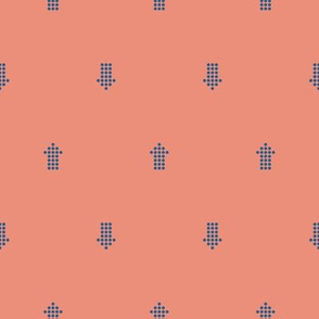 Comfy Dotted Arrows Coral Blue