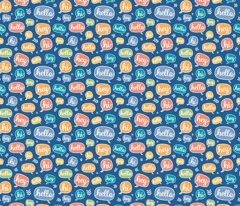 Comfy Hello Colorful fabric by lisanorrisartworks on Spoonflower - custom fabric