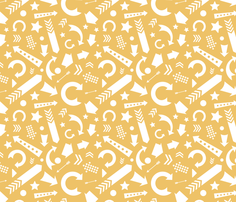 Comfy Scattered Arrows Yellow White fabric by lisanorrisartworks on Spoonflower - custom fabric