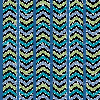 Comfy Striped Chevron Blue Green