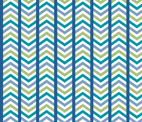 Comfy Striped Chevron Blue Green fabric by lisanorrisartworks on Spoonflower - custom fabric