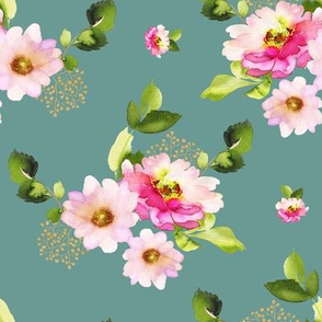 "8"" Pink and Green Florals - Muted Green"