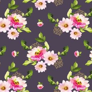 "4"" Pink and Green Florals - Plum"