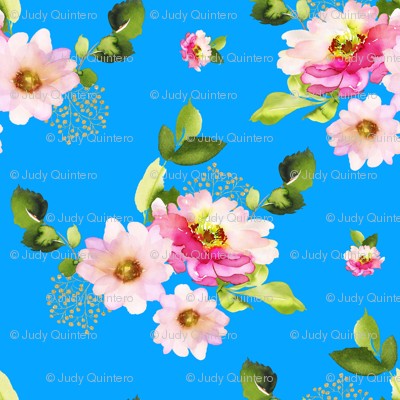 """4"""" Pink and Green Florals - Bright Blue"""