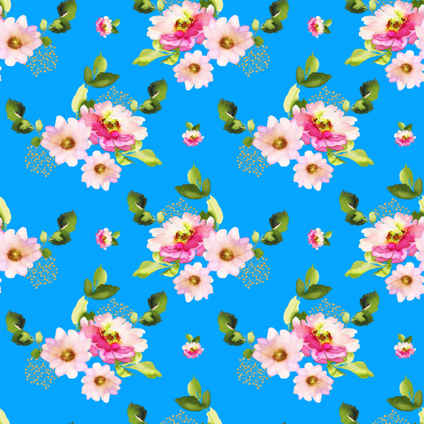 """4"""" Pink and Green Florals - Bright Blue fabric by shopcabin on Spoonflower - custom fabric"""