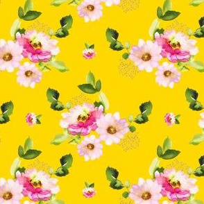 "4"" Pink and Green Florals - Bright Yellow"