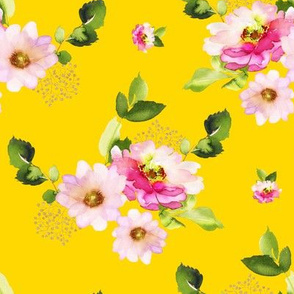 "8"" Pink and Green Florals - Bright Yellow"