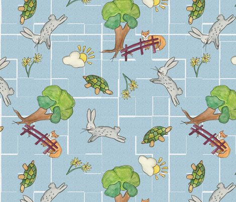 Rabbit_hare-01 fabric by pem_design_studio on Spoonflower - custom fabric