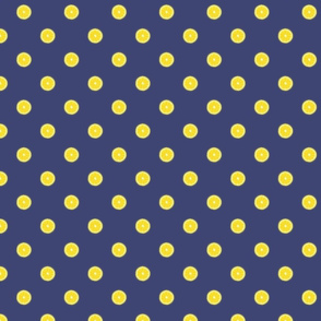 Lemon Polka Dot on Blue