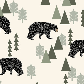 forest bear // cream green neutral baby nursery boys forest mountain woodland geometric bear (XLARGE VERSION)