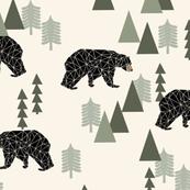 forest bear // cream green neutral baby nursery boys forest mountain woodland geometric bear (XLARGE VERSION)