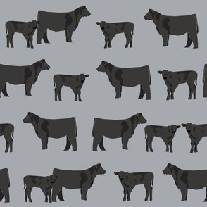 black angus fabric cattle and cow fabric cow design - grey