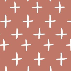 Terracotta Brushed Cross Pattern