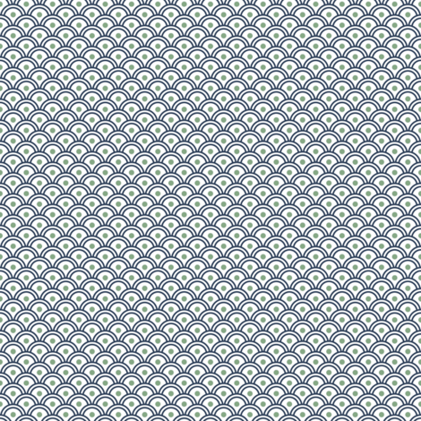 Scales - NavyGreenWhite fabric by piecefulbee on Spoonflower - custom fabric