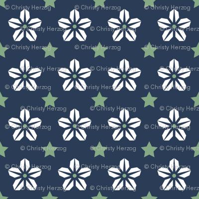 Starflower - WhiteGreenNavy