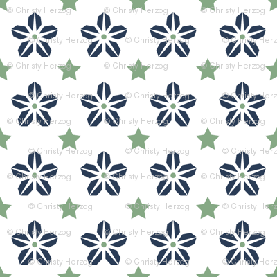 Starflower - navygreenwhite