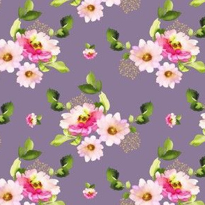 "4"" Pink and Green Florals - Lilac"