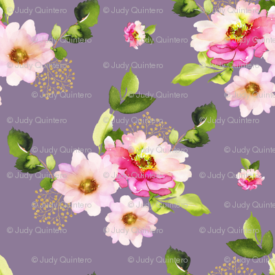 """8"""" Pink and Green Florals - Lilac"""