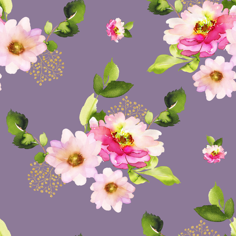 """8"""" Pink and Green Florals - Lilac fabric by shopcabin on Spoonflower - custom fabric"""