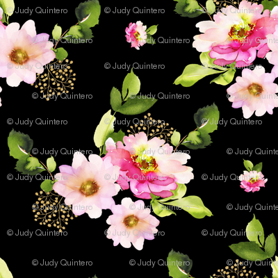 """4"""" Pink and Green Florals - Black"""