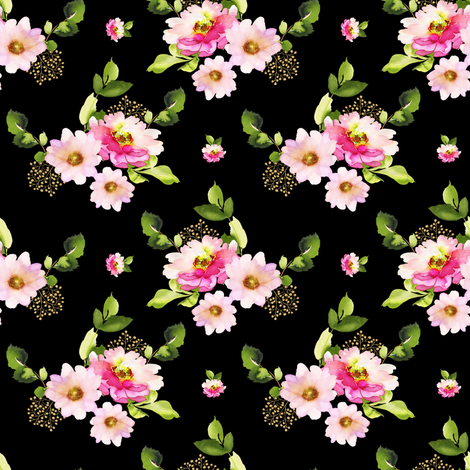 """4"""" Pink and Green Florals - Black fabric by shopcabin on Spoonflower - custom fabric"""