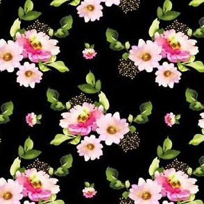 "4"" Pink and Green Florals - Black"