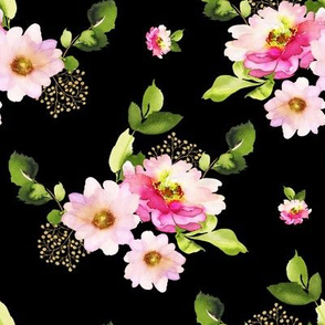 "8"" Pink and Green Florals - Black"