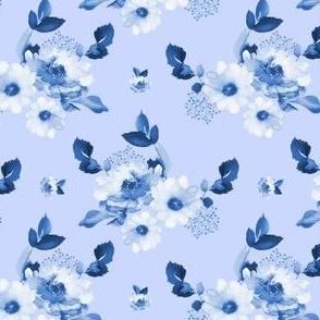 """4"""" Blue Watercolor Florals - Blue"""