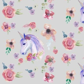 Unicorn and Flowers Watercolour