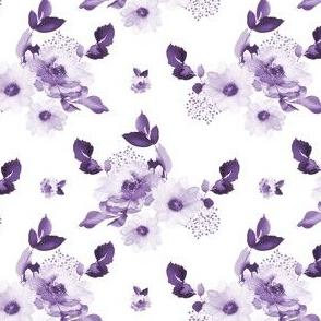 "4"" Purple Watercolor Florals - White"