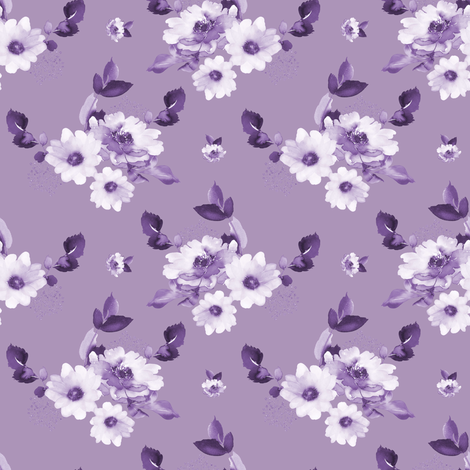 "4"" Purple Watercolor Florals - Purple fabric by shopcabin on Spoonflower - custom fabric"