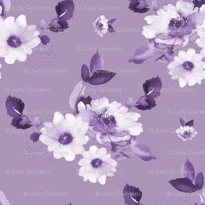 "8"" Purple Watercolor Florals - Purple"
