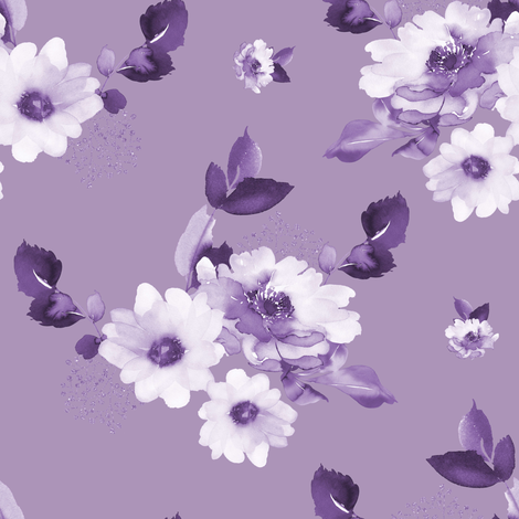 "8"" Purple Watercolor Florals - Purple fabric by shopcabin on Spoonflower - custom fabric"