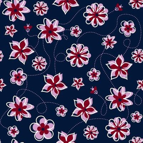 Navy Orchid Floral Buzz