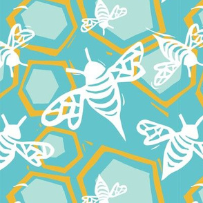 Bee + Honeycomb Teal