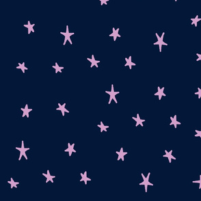 orchid and navy wonky stars orchid on navy