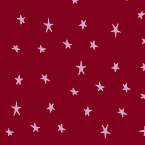 orchid and navy wonky stars orchid on red
