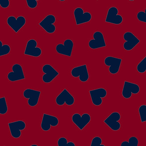 orchid and navy 1 inch scattered hearts navy on red