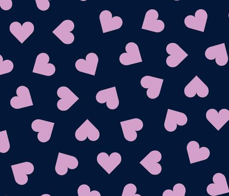 orchid and navy 1 inch scattered hearts orchid on navy fabric by victorialasher on Spoonflower - custom fabric