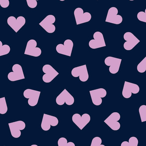 orchid and navy 1 inch scattered hearts orchid on navy
