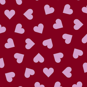 orchid and navy 1 inch scattered hearts orchid on red