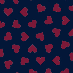 orchid and navy 1 inch scattered hearts red on navy