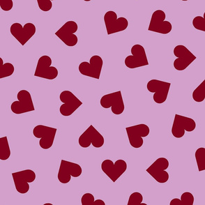 orchid and navy 1 inch scattered hearts red on orchid