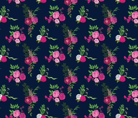 Grace - Navy fabric by scarlette_soleil on Spoonflower - custom fabric