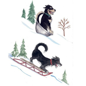 Watercolor Dogs Sledding